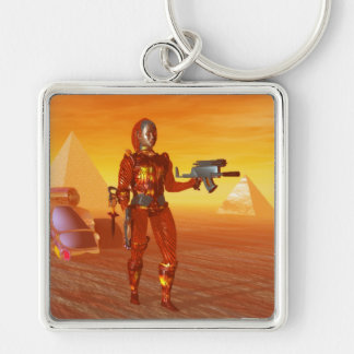 CYBORG ARES IN DESERT OF HYPERION Science Fiction Silver-Colored Square Key Ring