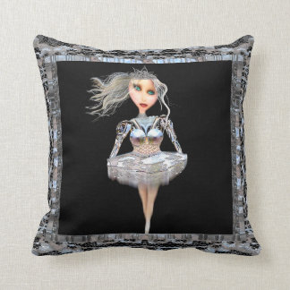 Cyborg Ballerina Throw Pillow