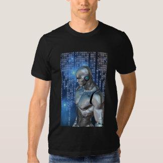 Cyborg Binary Back Ground Tee Shirts