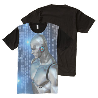 Cyborg Binary Code Futuristic All-Over Print T-Shirt
