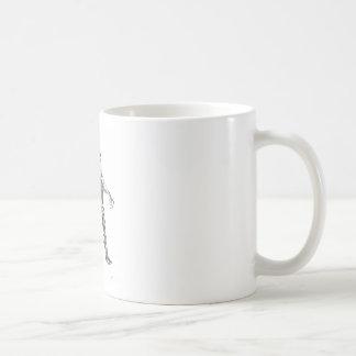 cyborg blck and white sharpened basic white mug