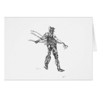 cyborg blck and white sharpened greeting card