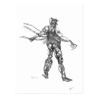 cyborg blck and white sharpened postcard