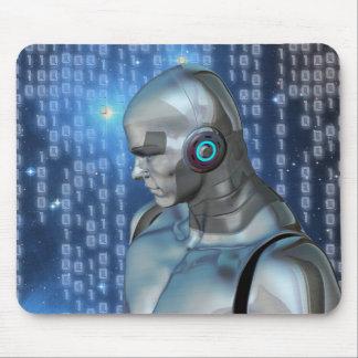 Cyborg / Robot Binary Code Futuristic Mouse Pad