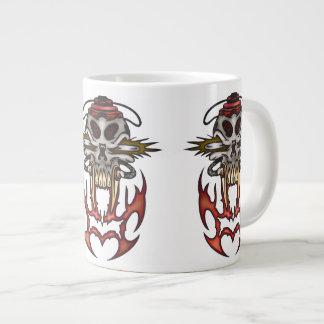 Cyborg Skull In Fire Jumbo Mug