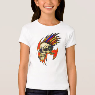 Cyborg Skull With Feathers T-Shirt