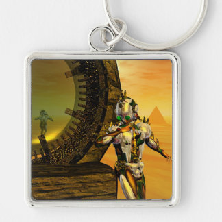 CYBORG TITAN IN DESERT OF HYPERION Science Fiction Silver-Colored Square Key Ring