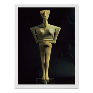 Cycladic female figure, from the Island of Amorgo, Poster