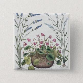 Cyclamen and Lavender: 1.Cyclamen Romanum; 2.Spica 15 Cm Square Badge