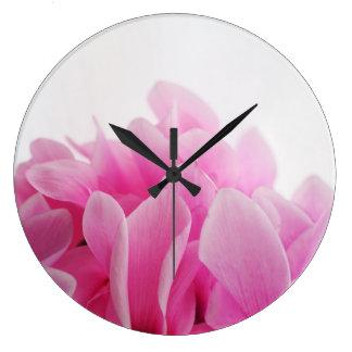 Cyclamen pink petals large clock