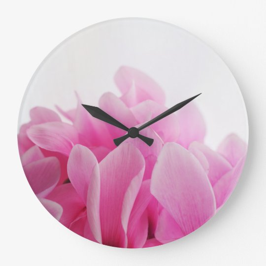 Cyclamen pink petals large clock