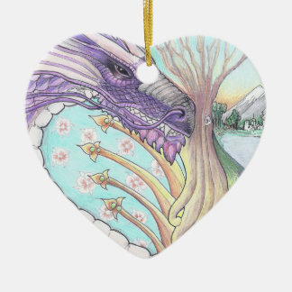 Cycle of Life Dragon Drawing Ceramic Heart Decoration