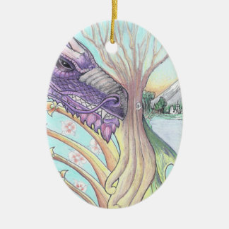 Cycle of Life Dragon Drawing Ceramic Oval Decoration