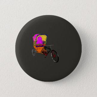 Cycle Rickshaw Gray 6 Cm Round Badge