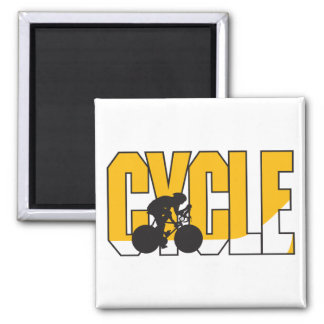 cycle text design square magnet