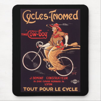 """Cycles Tnomed """"The Cowboy"""" Vintage French Bike Ad Mouse Mat"""