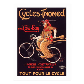 "Cycles Tnomed ""The Cowboy"" Vintage French Bike Ad Postcard"