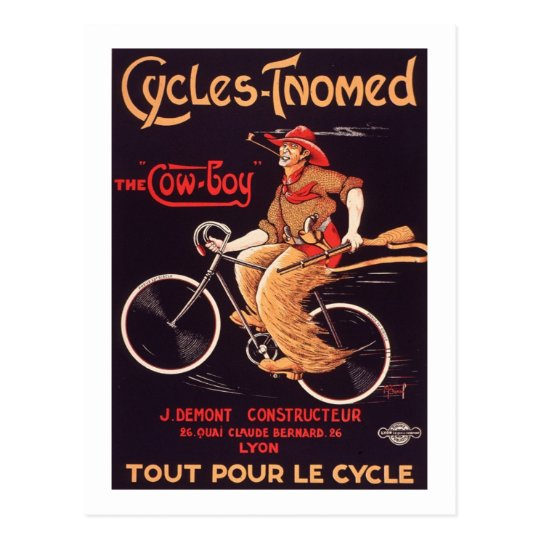 "Cycles Tnomed ""The Cowboy"" Vintage French Bike Ad"