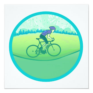 Cycling 13 Cm X 13 Cm Square Invitation Card