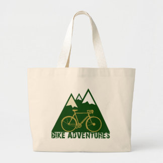 cycling adventure - bikes large tote bag
