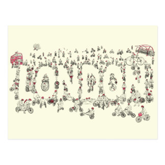 Cycling Around London Funny Word Art Line Drawing Postcard