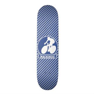 Cycling; Blue & White Stripes, Sports Custom Skateboard