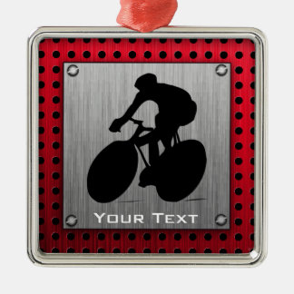 Cycling; Brushed metal look Christmas Ornament
