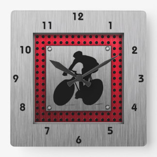 Cycling; Brushed metal look Square Wall Clock