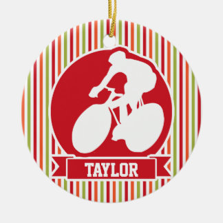 Cycling, Cyclist; Red, Orange Green Stripes Christmas Ornament