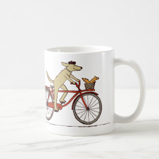 Cycling Dog and Squirrel - Cute Animal Art Coffee Mug