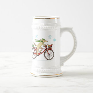 Cycling Dog and Squirrel Whimsical Winter Holiday Beer Steins
