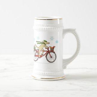 Cycling Dog and Squirrel Whimsical Winter Holiday Mug