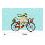 Cycling Dog and Squirrel Whimsical Winter Holiday Pack Of Chubby Business Cards