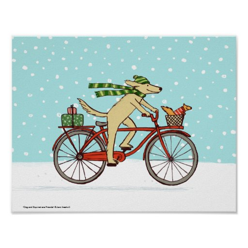 Cycling Dog and Squirrel Whimsical Winter Holiday Posters