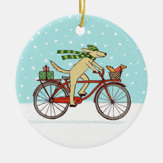Cycling Dog and Squirrel Whimsical Winter Holiday Round Ceramic Decoration