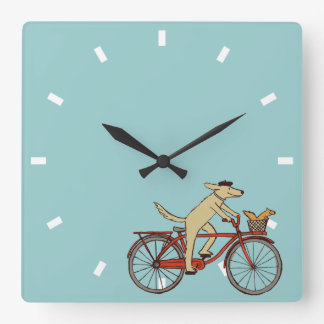 Cycling Dog with Squirrel Friend - Fun Animal Art Wallclocks