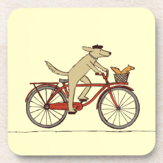 Cycling Dog with Squirrel Friend - Fun Animal Art Coaster