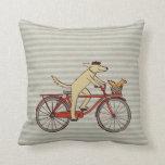Cycling Dog with Squirrel Friend - Fun Animal Art Cushions