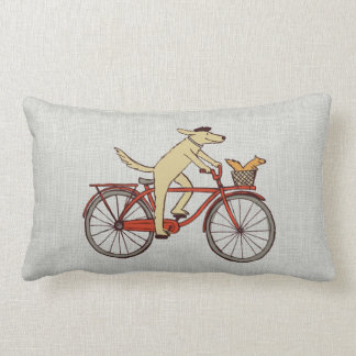 Cycling Dog with Squirrel Friend - Fun Animal Art Lumbar Cushion