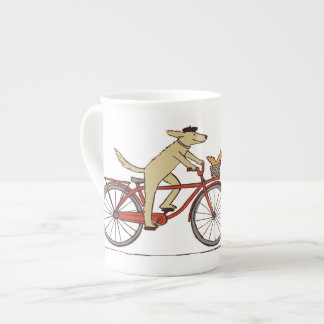 Cycling Dog with Squirrel Friend - Fun Animal Art Tea Cup