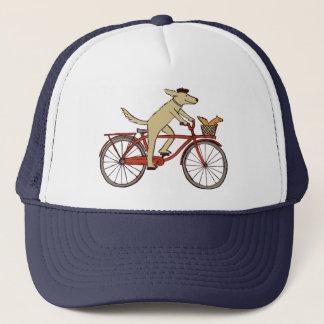 Cycling Dog with Squirrel Friend - Fun Animal Art Trucker Hat