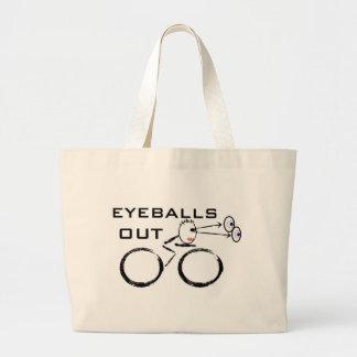 Cycling Eyeballs Out Large Tote Bag