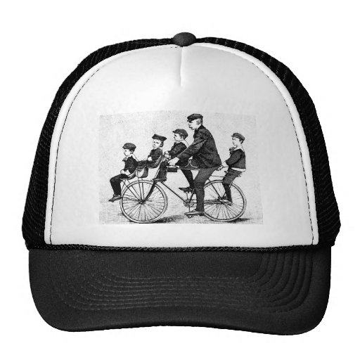 Cycling Family - Vintage Bicycle Illustration Mesh Hat
