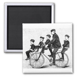 Cycling Family - Vintage Bicycle Illustration Square Magnet