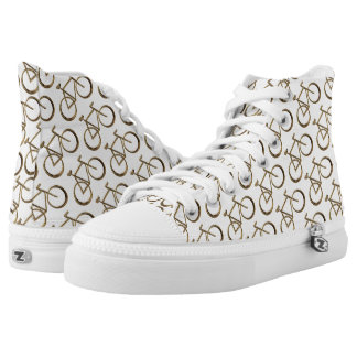 Cycling Funny Bicycles Bike Pattern Gold White High Tops