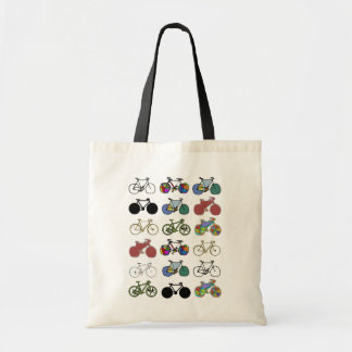 cycling grouped illustrations tote bag