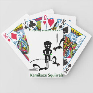Cycling hazard: kamikaze squirrels bicycle playing cards