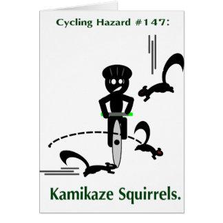 Cycling hazard: kamikaze squirrels greeting card