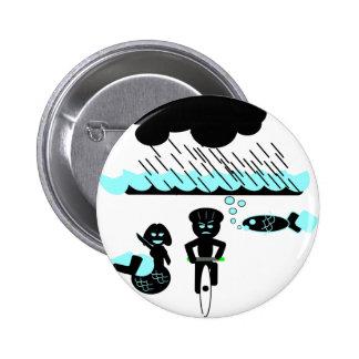 Cycling hazard: Sudden Torrential Rainstorms 6 Cm Round Badge