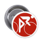 Cycling icon, red and white 6 cm round badge